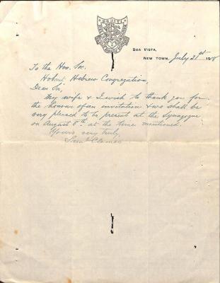 Letter from Samuel Clemes