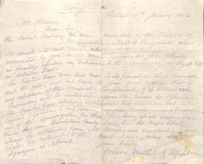 Letter from Dobson, Mitchell & Allport to Benson Harris