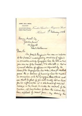 Letter from Simmons, Crisp and SImmons to Henry Ansell