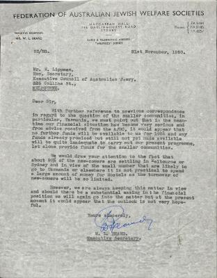 Letter from Federation of Australian Jewish Welfare Societies