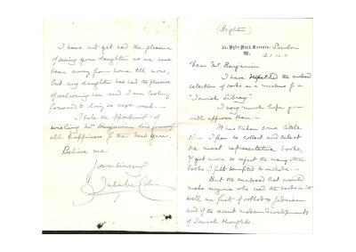 Letter from Julia Matilda Cohen to Samuel Benjamin
