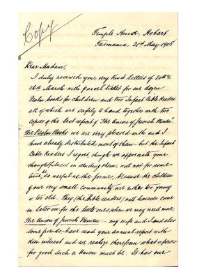 Letter from Samuel Benjamin to Julia Matilda Cohen