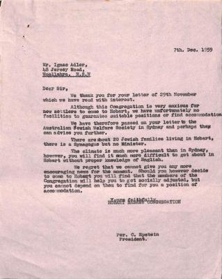 Letter from Clyde Epstein to Ignac Adler