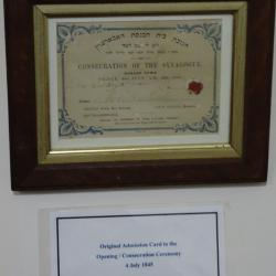Original ticket of admission to 1845 consecration event.