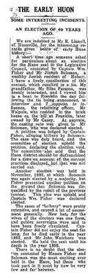 The early Huon: Some interesting incidents.  An election of 60 years ago