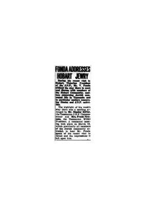 Fonda Addresses Hobart Jewry
