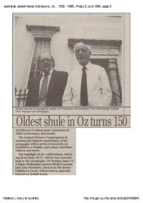 Oldest shule in Oz turns 150