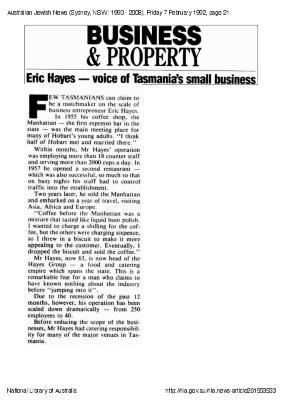 Business & property Eric Hayes - voice of Tasmania's small business