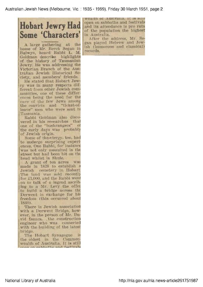 Hobart Jewry Had Some 'Characters'