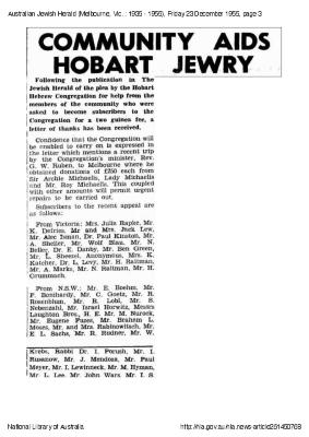 Community aids Hobart Jewry