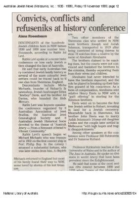 Convicts, conflicts and refuseniks at history conference