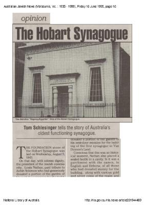 The Hobart Synagogue