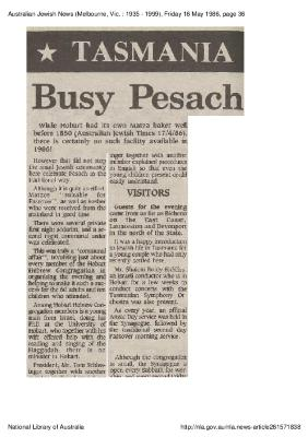 Tasmania Busy Pesach