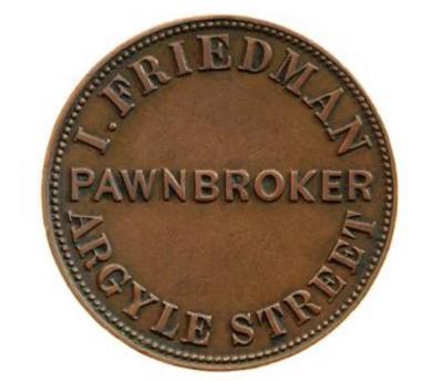 Token - Halfpenny, I. Friedman, Pawnbroker, Hobart, Tasmania, Australia, 1857