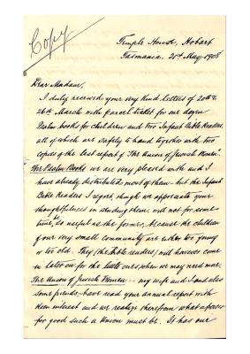 Letter from Samuel Benjamin to Julia Matilda Cohen