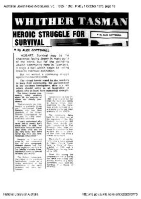 Whither Tasmanian Jewry? Heroic struggle for survival
