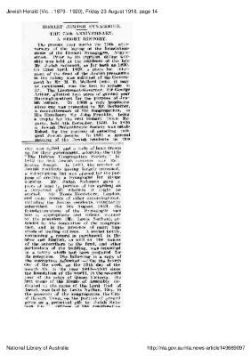 Hobart Jewish Synagogue: The 75th anniversary.  A short history.