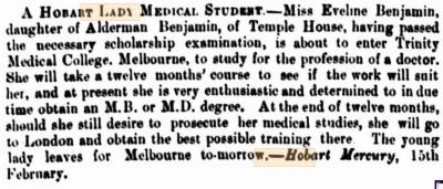 A Hobart lady medical student