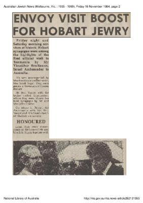 Envoy visit boost for Hobart Jewry