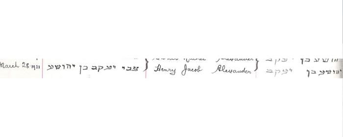 Henry Jacob Alexander birth record