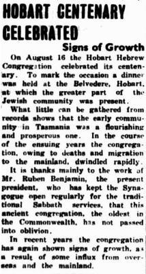 Hobart centenary celebrated