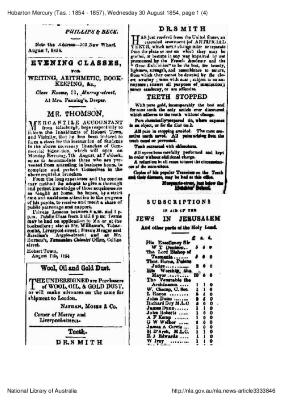 Subscriptions in aid of the Jews in Jerusalem