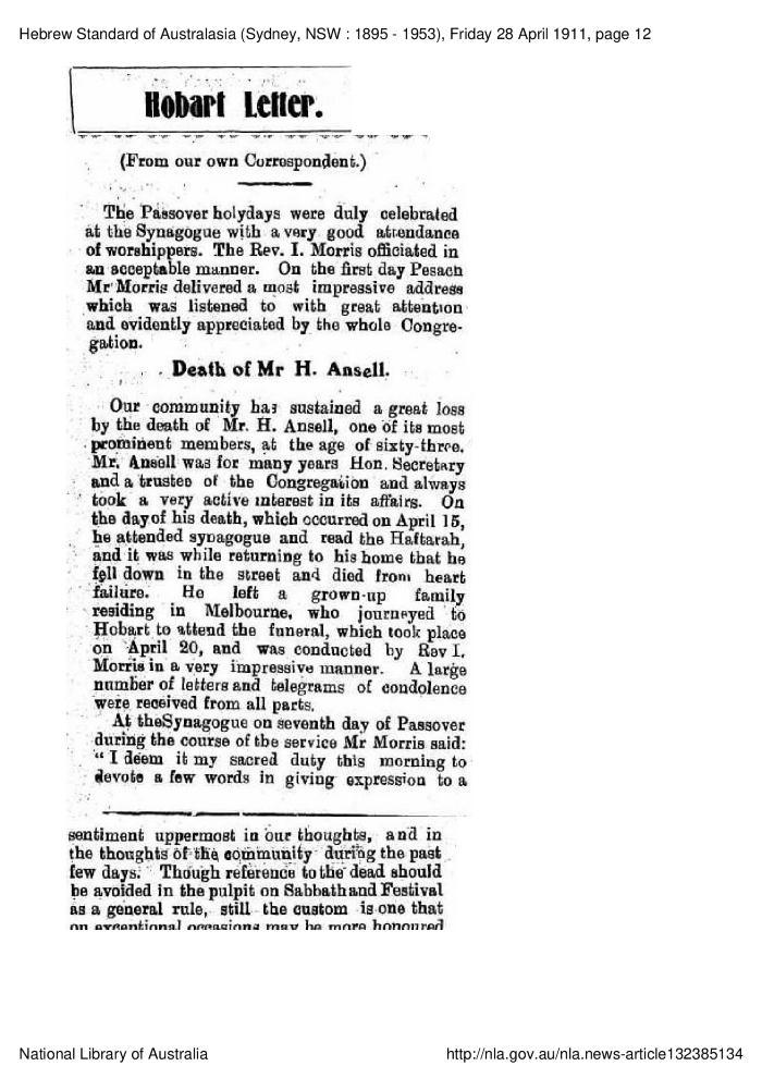 Hobart Letter.