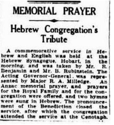Memorial prayer: Hebrew congregation's tribute