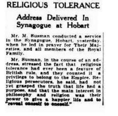 Religious tolerance: Address delivered in Synagogue at Hobart