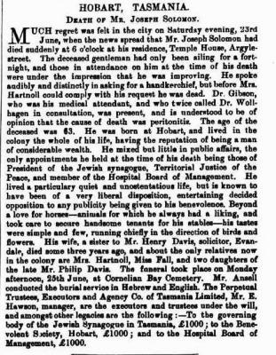 Hobart, Tasmania: Death of Mr. Joseph Solomon