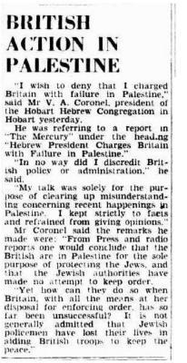 British action in Palestine