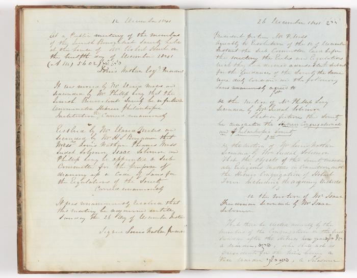 Meeting Minute Original Page, 12 December 1841 to 26 December 1841